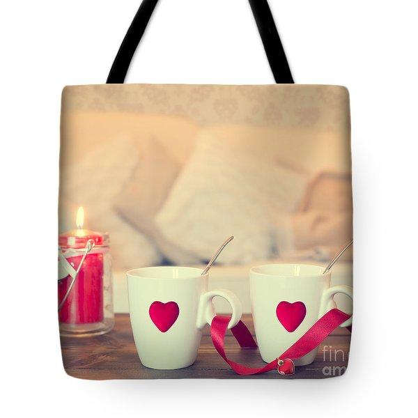 Heart Teacups Tote Bag by Amanda Elwell