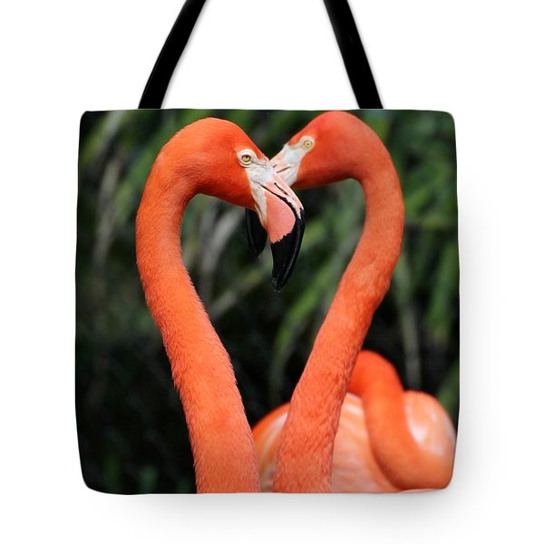 Tote Bag featuring the photograph Heart To Heart Flamingo's by Sabrina L Ryan