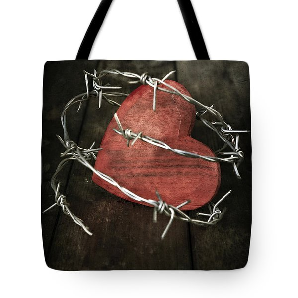 Heart With Barbed Wire Tote Bag by Joana Kruse