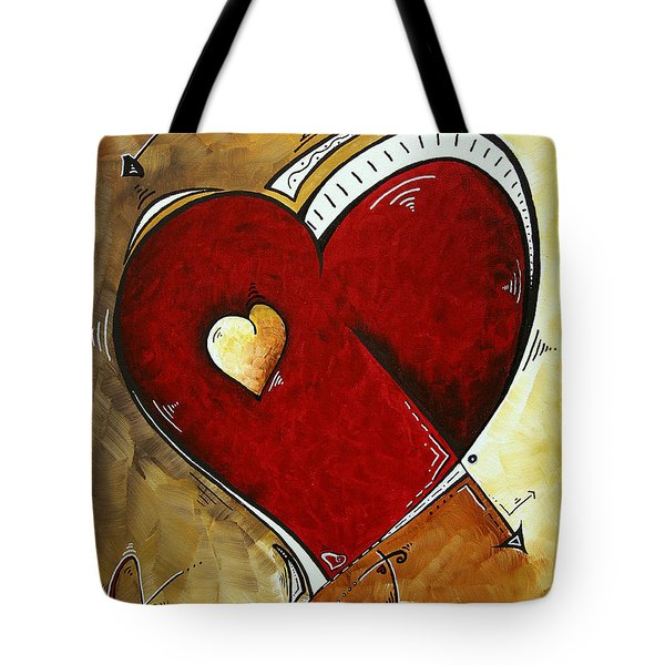 Heartbeat By Madart Tote Bag by Megan Duncanson