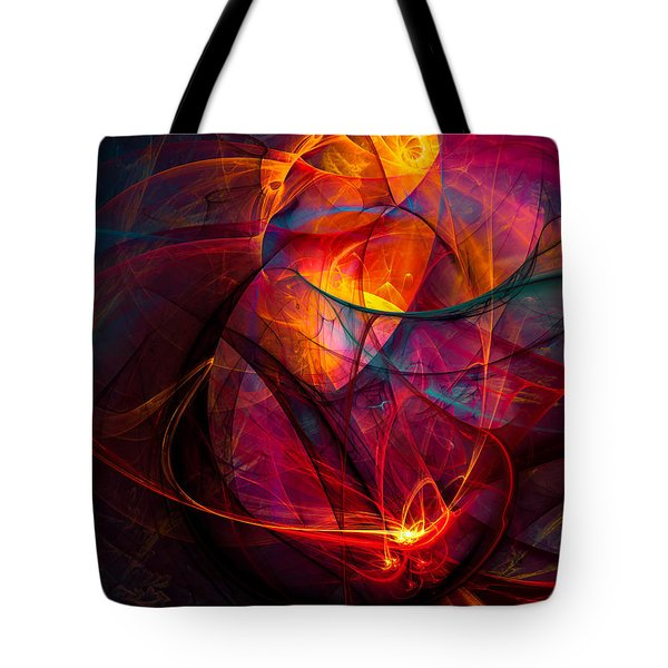 Heartbeat Warmth Tote Bag by Modern Art Prints