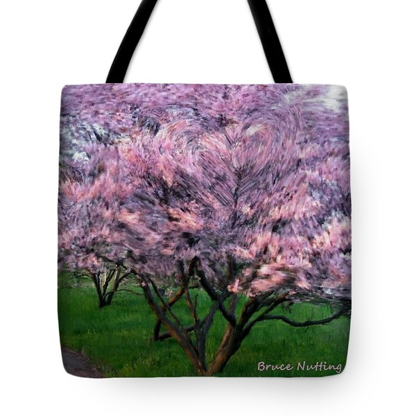 Tote Bag featuring the painting Heartfelt Cherry Blossoms by Bruce Nutting