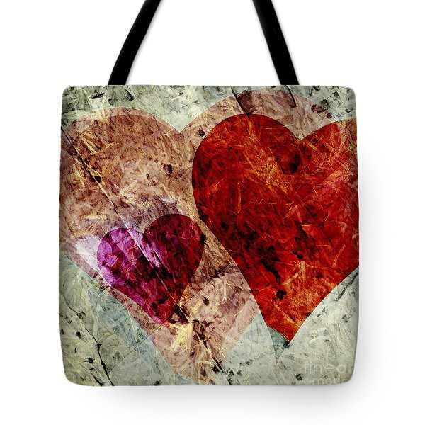 Hearts 10 Square Tote Bag by Edward Fielding
