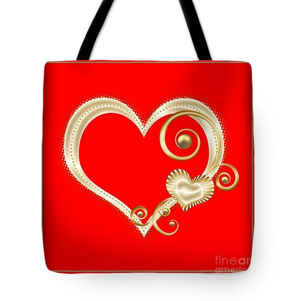 Hearts In Gold And Ivory On Red Tote Bag