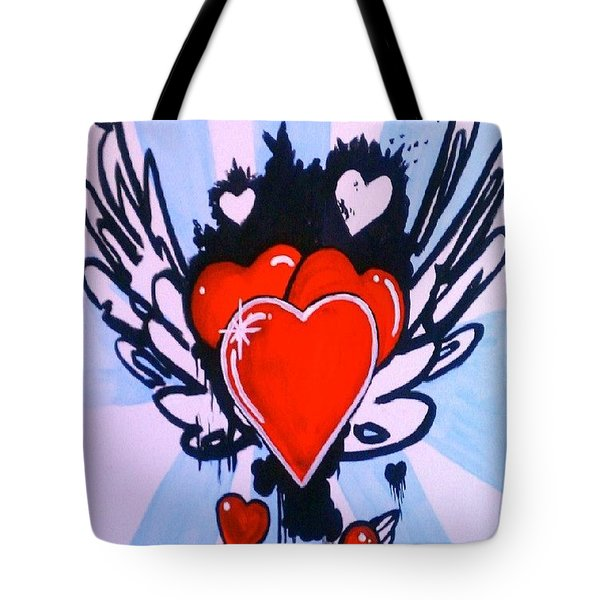 Hearts Tote Bag by Marisela Mungia