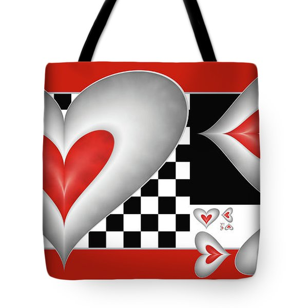 Hearts On A Chessboard Tote Bag