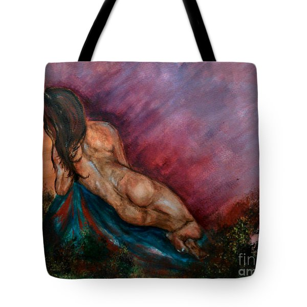 Tote Bag featuring the painting Heavens Garden by Lori  Lovetere