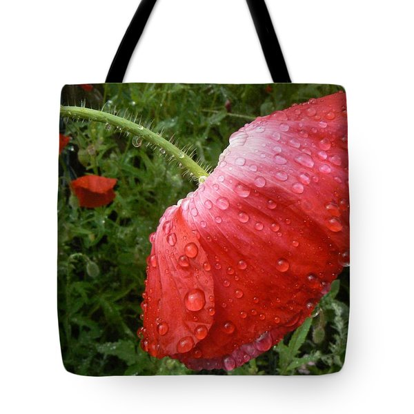Heavy Head Poppy Tote Bag
