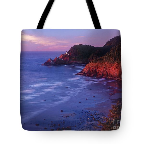 Tote Bag featuring the photograph Heceta Head Lighthouse At Sunset Oregon Coast by Dave Welling