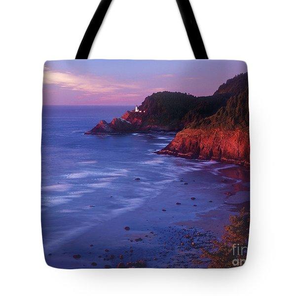 Heceta Head Lighthouse At Sunset Oregon Coast Tote Bag