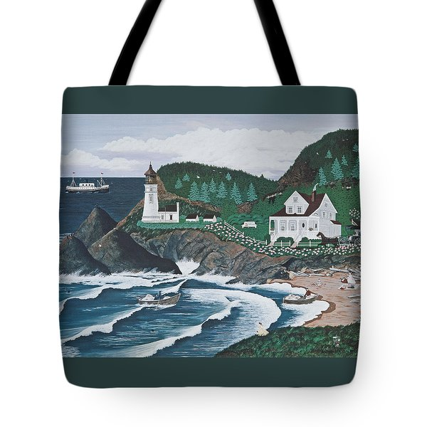 Tote Bag featuring the painting Heceta Lighthouse by Jennifer Lake