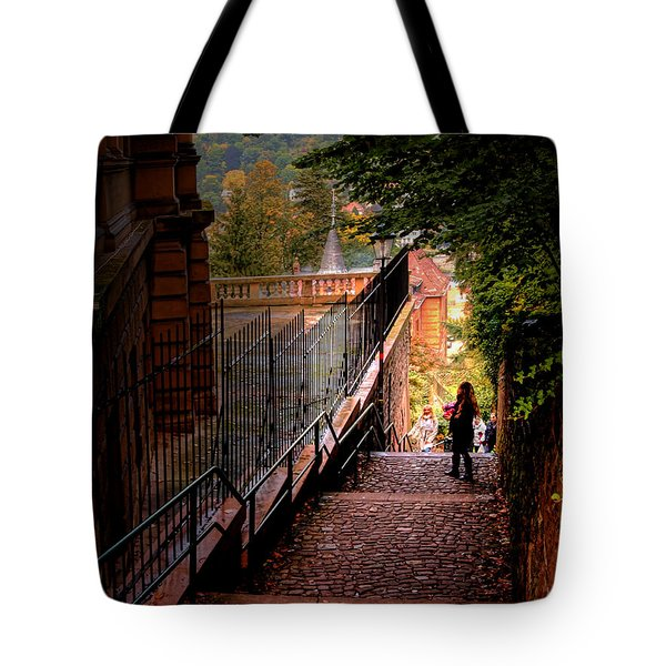 Tote Bag featuring the photograph Heidelberg Stairway by Jim Hill