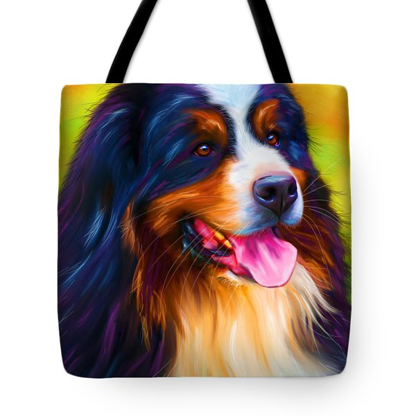 Colorful Bernese Mountain Dog Painting Tote Bag by Michelle Wrighton