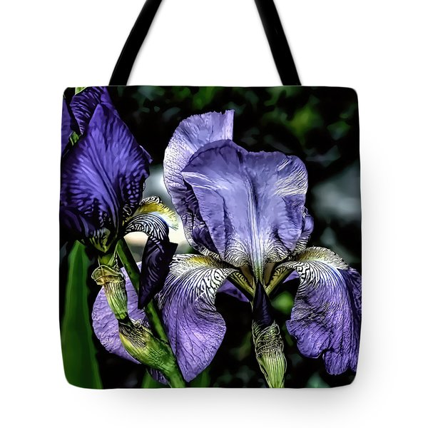 Heirloom Purple Iris Blooms Tote Bag