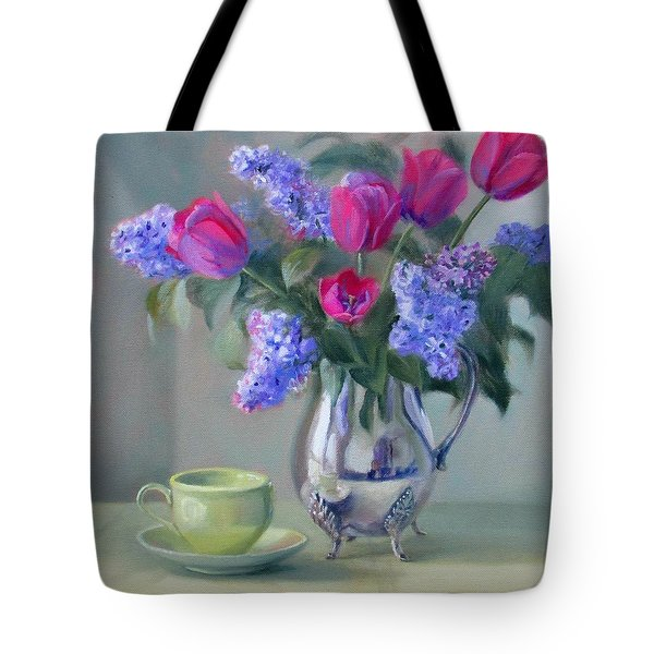 Heirlooms- Lilacs And Tulips In A Silver Pitcher Tote Bag by Bonnie Mason