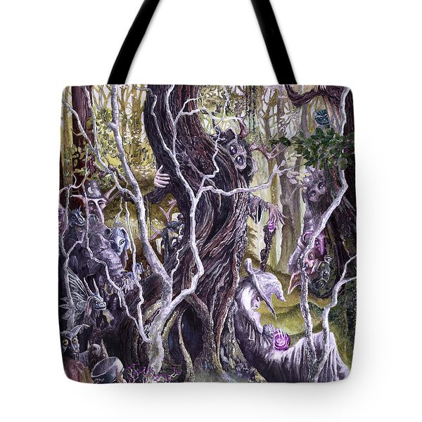 Tote Bag featuring the painting Heist Of The Wizard's Staff 2 by Curtiss Shaffer