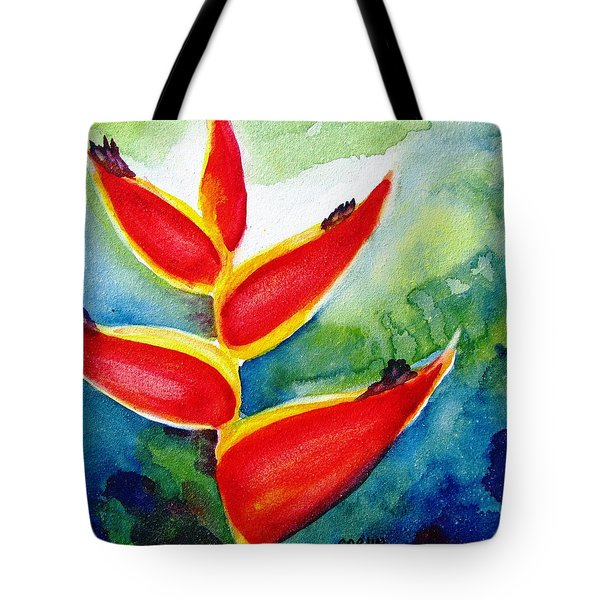 Heliconia - Abstract Painting Tote Bag by Carlin Blahnik