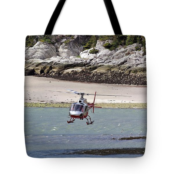 Helicopter Landing In Skagway Tote Bag