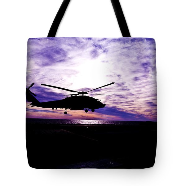 Helicopter Silhouette At Sunset Tote Bag by Mountain Dreams
