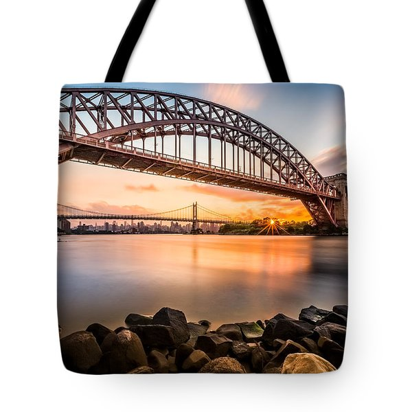 Tote Bag featuring the photograph Hell Gate And Triboro Bridge At Sunset by Mihai Andritoiu