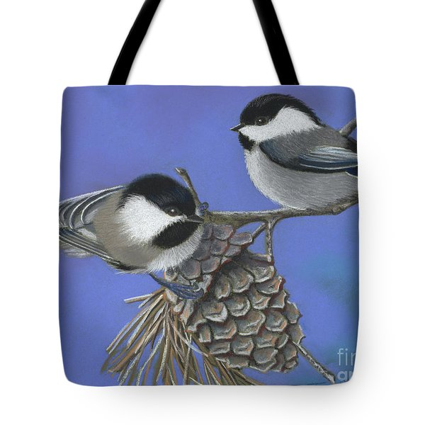 Hello Chickadees Tote Bag by Tracy L Teeter