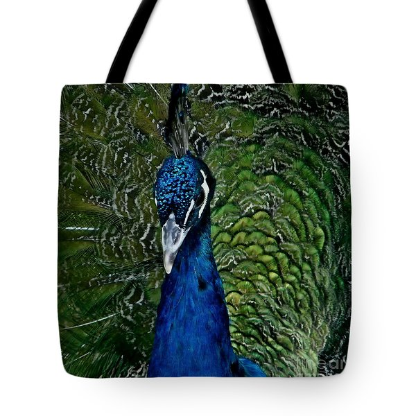 Tote Bag featuring the photograph Hello Mr Peacock by Ruth Jolly