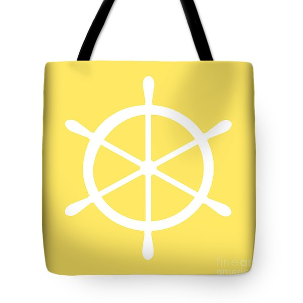 Helm In White And Yellow Tote Bag