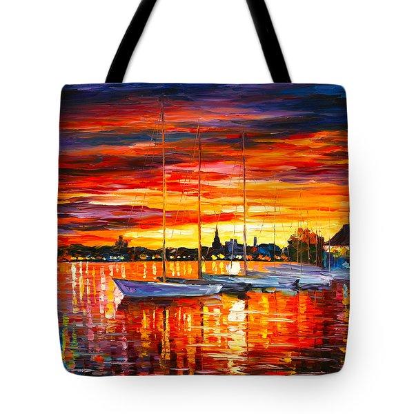 Helsinki Sailboats At Yacht Club Tote Bag by Leonid Afremov