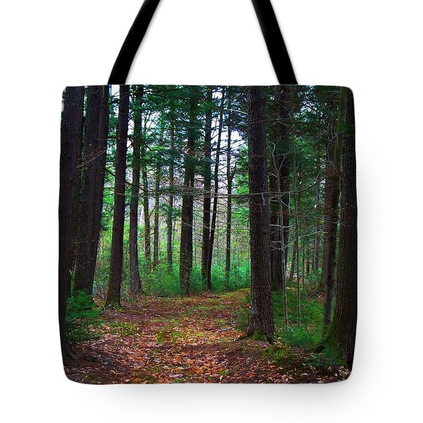Tote Bag featuring the photograph Hemlock Path by Joy Nichols