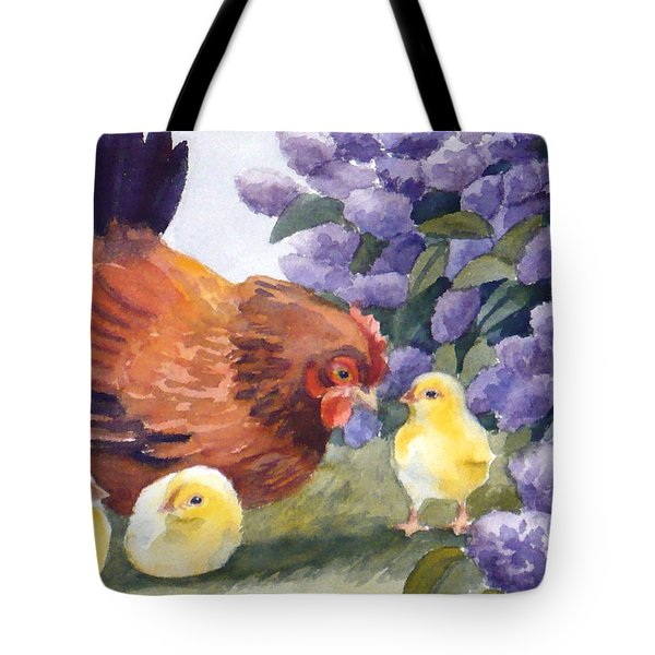 Hen And Chicks Among The Lilacs Tote Bag