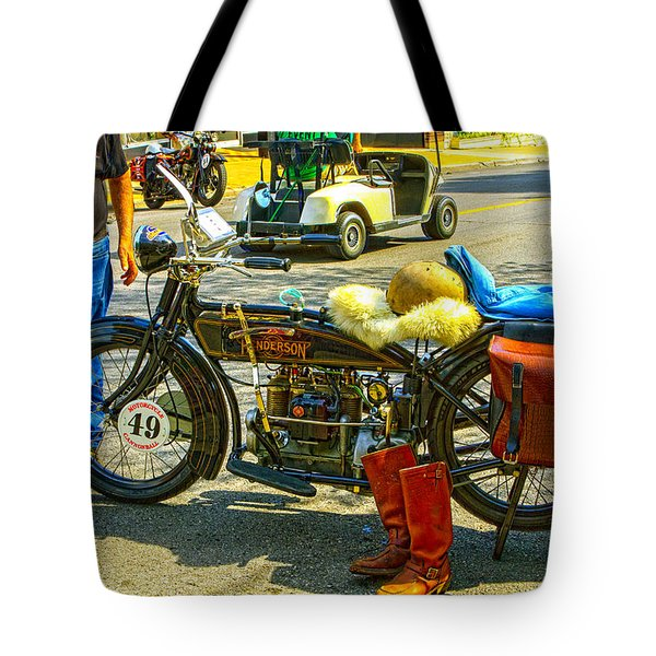 Henderson At Cannonball Motorcycle Tote Bag
