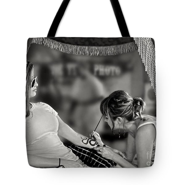 Tote Bag featuring the photograph Henna At The Fair by Jennie Breeze
