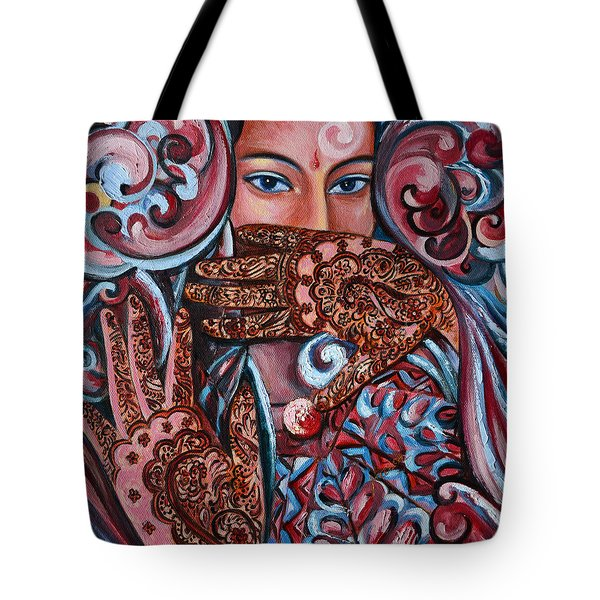 Tote Bag featuring the painting Henna by Harsh Malik