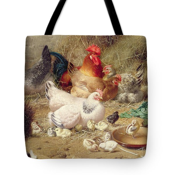 Hens Roosting With Their Chickens Tote Bag by Eugene Remy Maes