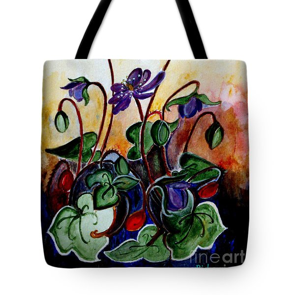Hepatica After A Design By Anne Wilkinson Tote Bag by Veronica Rickard