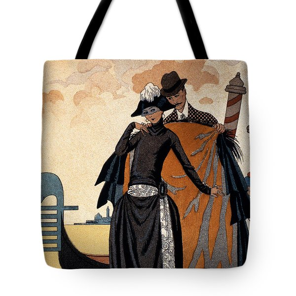Her And Him Fashion Illustration Tote Bag by Georges Barbier