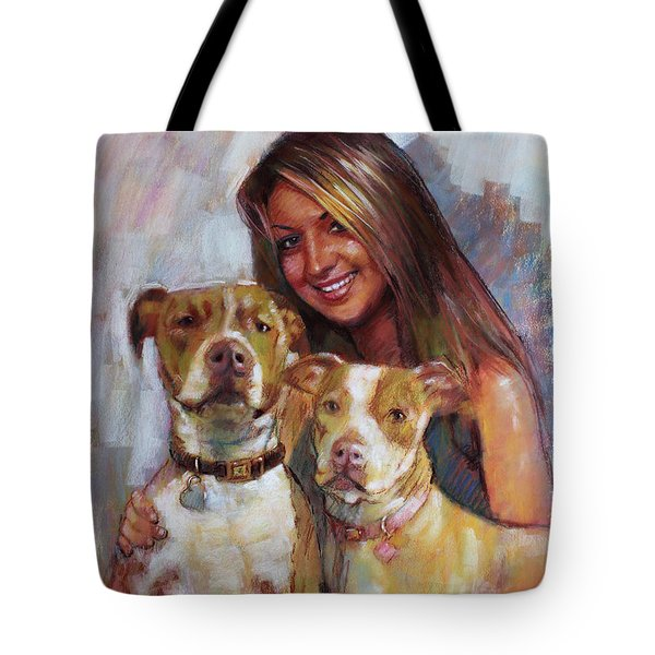 Tote Bag featuring the drawing Her Best Friends by Viola El
