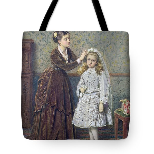 Her First Communion Tote Bag by George Goodwin Kilburne