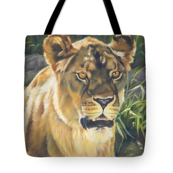 Her - Lioness Tote Bag by Lori Brackett