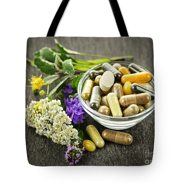 Herbal Medicine And Herbs Tote Bag by Elena Elisseeva