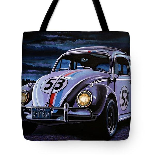 Herbie The Love Bug Painting Tote Bag