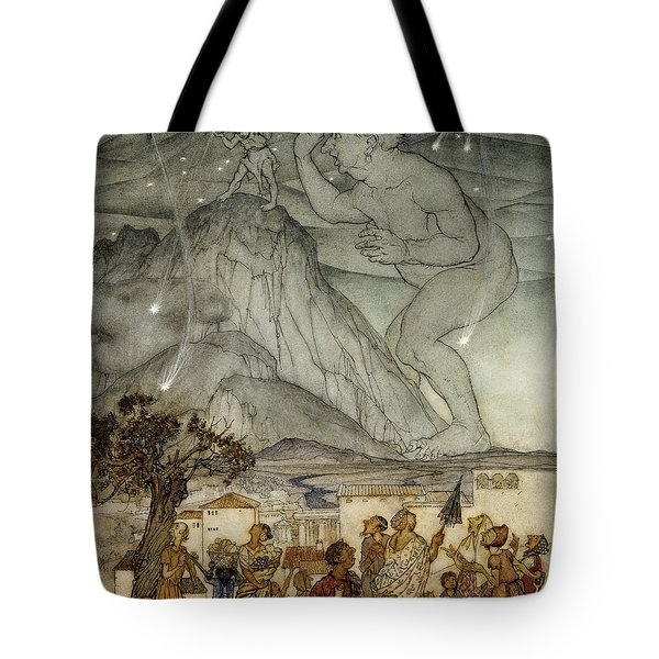 Hercules Supporting The Sky Instead Of Atlas Tote Bag by Arthur Rackham
