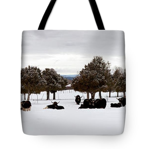 Herd Of Yaks Bos Grunniens On Snow Tote Bag by Panoramic Images