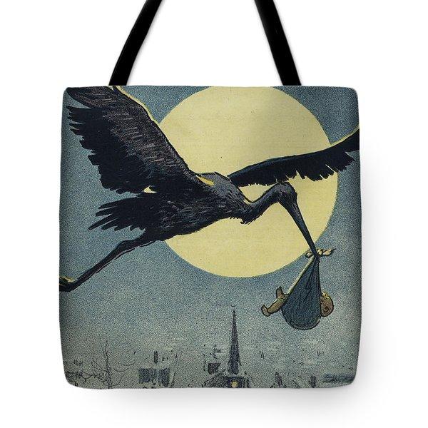 Here Comes The Stork Circa Circa 1913 Tote Bag