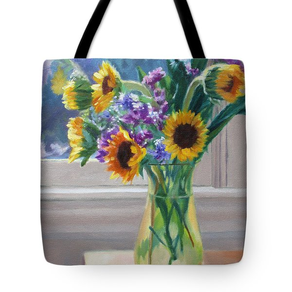 Here Comes The Sun- Sunflowers By The Window Tote Bag by Bonnie Mason