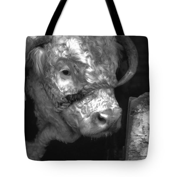 Hereford Bull In Black And White Tote Bag