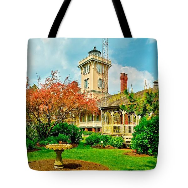 Hereford Inlet Lighthouse Garden Tote Bag by Nick Zelinsky