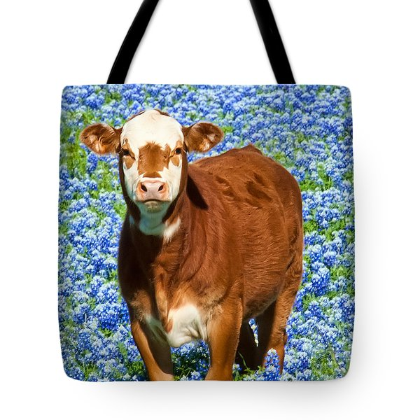 Tote Bag featuring the photograph Heres Looking At You Kid - Calf With Bluebonnets In Texas by David Perry Lawrence