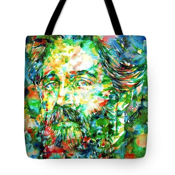Herman Melville Watercolor Portrait Tote Bag by Fabrizio Cassetta