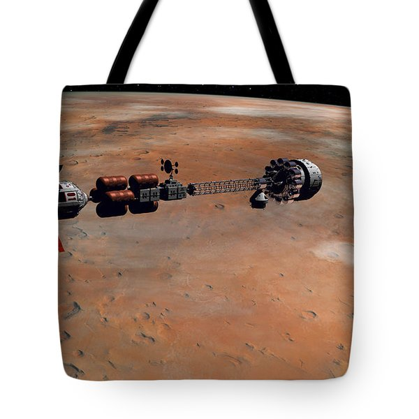 Tote Bag featuring the digital art Hermes1 Orbiting Mars by David Robinson